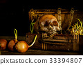 Still life with human skull with old treasure ches 33394807