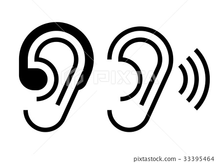Hearing aid and ear icon 33395464