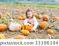 little girl farming on pumpkin patch 33396104