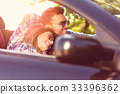 Happy Couple Driving in Convertible car over 33396362