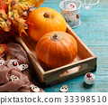 Photo of pumpkin, maple leaves 33398510