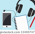 mobile smartphone with headphones and notebook 33400747