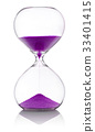 Hourglass with violet sand on white background 33401415