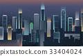 Night city skyline with neon lights. Modern city 33404024
