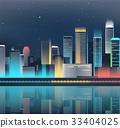 Night city skyline with neon lights. Modern city 33404025