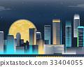 Night city skyline with neon lights. Modern city 33404055