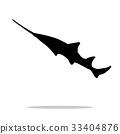 Sawfish fish black silhouette aquatic animal 33404876