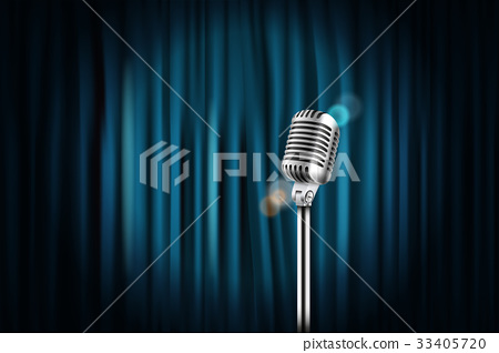 Stage curtains with shining microphone  33405720