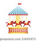 Vintage merry-go-round carousel icon, fair symbol. 33405973