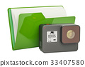 Computer folder icon with dashcam, 3D rendering 33407580