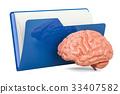 Computer folder icon with human brain 33407582