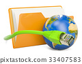 Computer folder icon with lan internet cable 33407583