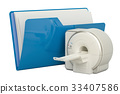 Computer folder icon with MRI, 3D rendering 33407586