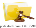 Computer folder icon with wooden gavel 33407590