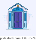 Blue front door on the brick wall with lantern 33408574