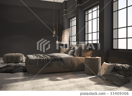 loft bedroom with beige wood floor 33409306