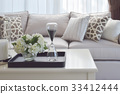 living room interior with decorative tray on table 33412444