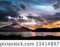 富士山 日落 夕陽 33414897