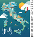 Italy map with attractive landmarks illustration. 33415341