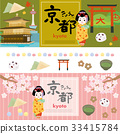 Kyoto label banner illustration 33415784
