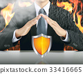 businessman and shield with fire background 33416665