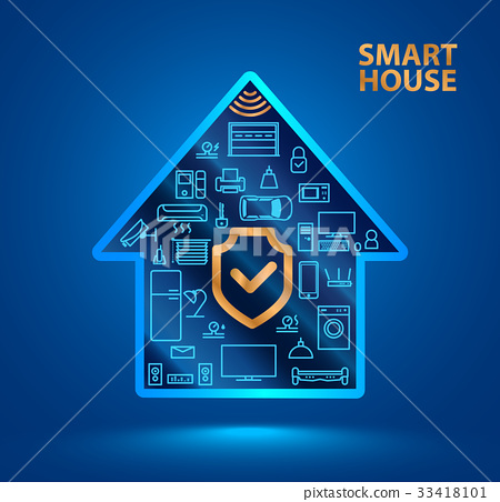 smart house with icons of household appliances. 33418101
