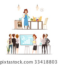 Motherhood Cartoon Work Family Concept 33418803