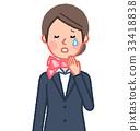 西装和围巾女人前哭 33418838