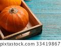 Halloween pumpkin on empty table 33419867