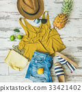 Colorful summer fashion outfit flat-lay over 33421402