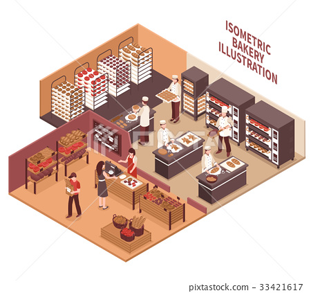 Isometric Bakery Illustration 33421617
