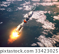 Carrier Rocket Launch In The Pink Clouds 33423025