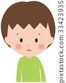 人面部表情失望可憐的男孩孩子 33423935