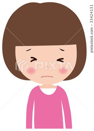 인물 표정 무서운 여자 아이 33424131