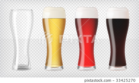 Realistic beer glasses set 33425270