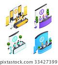 Information Desks Isometric Compositions 33427399