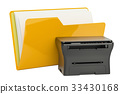 Computer folder icon with multifunction printer 33430168