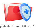 Computer folder icon with shield, 3D rendering 33430170