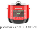 Red Automatic Multicooker, 3D rendering 33430179