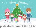 cartoon family with christmas 33432337