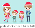 cartoon family with merry christmas 33432348