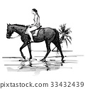 Girl riding a horse on the beach 33432439