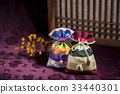 꽃, 복주머니, 전통 33440301