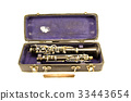 antique clarinet musical instrument in old case 33443654