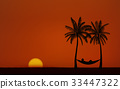 Silhouette palm tree with hammock under sunset sky 33447322