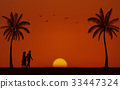 Silhouette walking couple on beach and sunset sky 33447324