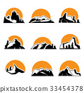 Set of mountain logo with sunset. Vector 33454378