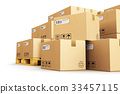 Cardboard boxes on shipping pallets 33457115