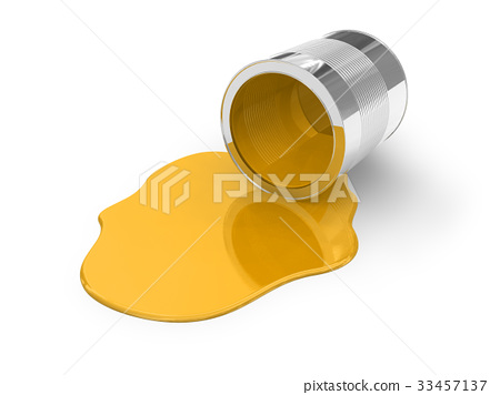 Yellow spilled paint 33457137