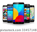 Collection of modern touchscreen smartphones 33457148